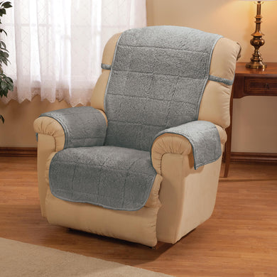 Parker Collection Water-Resistant Sherpa Recliner Protecting Cover Gray