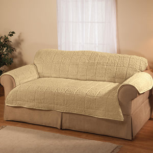 Bradley Collection Sherpa Sofa Protecting Cover Camel