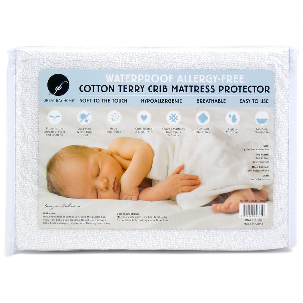 Cotton Terry Crib Mattress Protector in Package