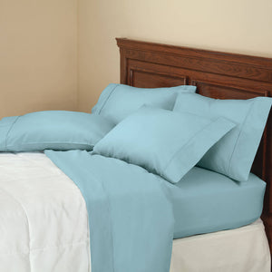 850 Thread Count Cotton Rich 6-Piece Twill Sheet Set - Blue