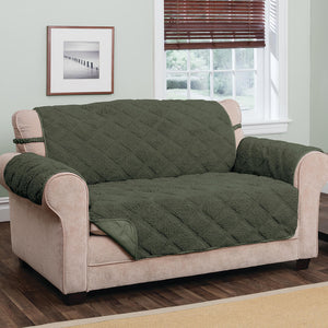 Hudson Waterproof Sherpa Sofa Protector by OakRidge hunter green