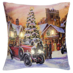 LED Holiday Printed Throw Pillow Vintage Car Design