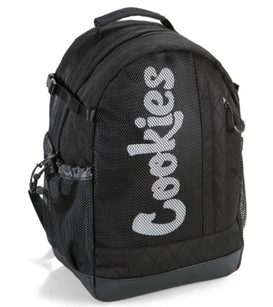 COOKIES SMELL PROOF MESH OVERLAY NYLON BACKPACK BLACK