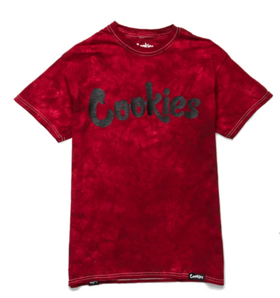 COOKIES ORIGINAL MINT CRYSTAL TIE DYE TEE BURGUNDY