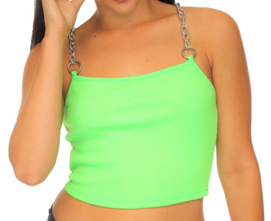 Green Pull Your Chain Crop Top