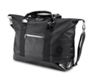 "SKUNK WEEKENDER BAG (19""x9x16"") BLACK W/ BLACK LEATHER"
