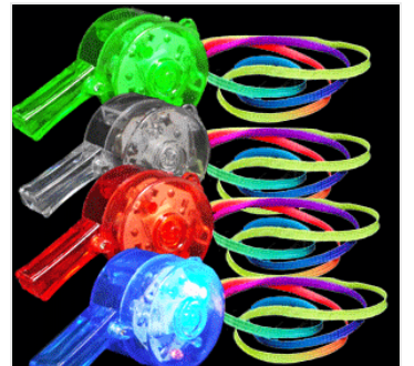 LED Flashing Whistle Necklaces