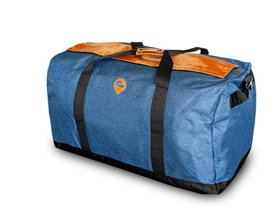 MIDNIGHT EXPRESS- LARGE DUFFLE- NAVY W/ LEATHER