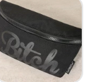 FYDELITY- Ultra-Slim Fanny Pack WERDS Bitch Black & Black