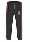 FRONT RUNNER FLEECE SWEATPANT W/ STRIPED TAPING & ZIPPER POCKETS BLACK