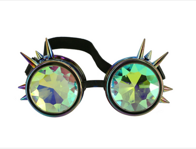 Steampunk Rainbow Spiked goggle with kaleidoscope lens