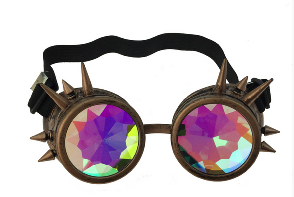 Steampunk Copper Spiked goggle kaleidoscope lens