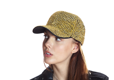 Gold  Rhinestone Black Baseball Cap