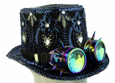 Burning Man Peacock Top Blue Sequin Hat