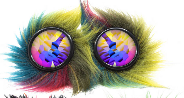 Kandi Swirl Neon Night Furry Party Animal Goggles