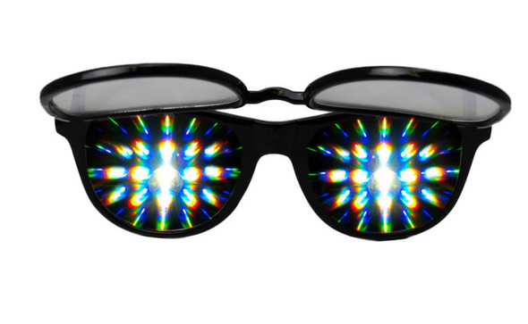 Solid Flip Up Diffraction Glasses - Black
