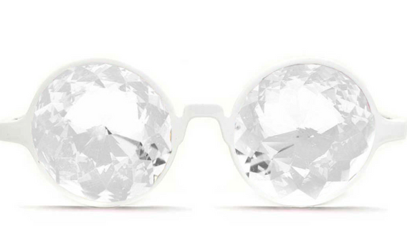 GloFX White Frame Kaleidoscope Glasses with Clear Lenses