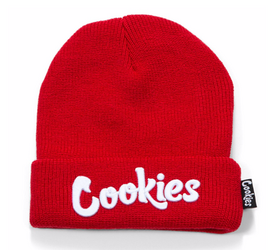 COOKIES THIN MINT EMBROIDERED KNIT BEANIE RED/WHITE