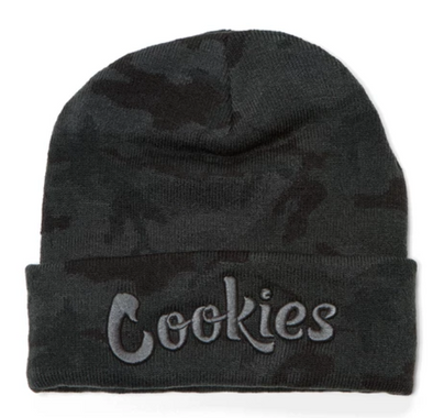 COOKIES THIN MINT EMBROIDERED KNIT BEANIE- CAMO/ CHARCOAL