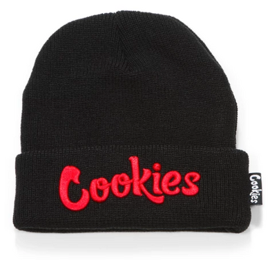 COOKIES THIN MINT EMBROIDERED KNIT BEANIE - BLACK/RED