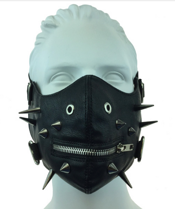 LEATHER FACE MASK - BLACK