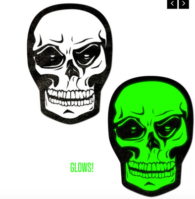 White Skull/Green Glow-in-the Dark Nipple Pasties