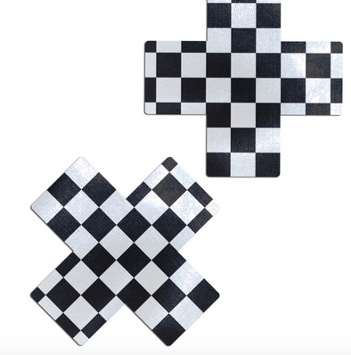 Plus X:Black & White Checker Nipple Pasties