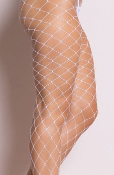 Rhinestone Shimmer Large Fishnet Stocking Tights White