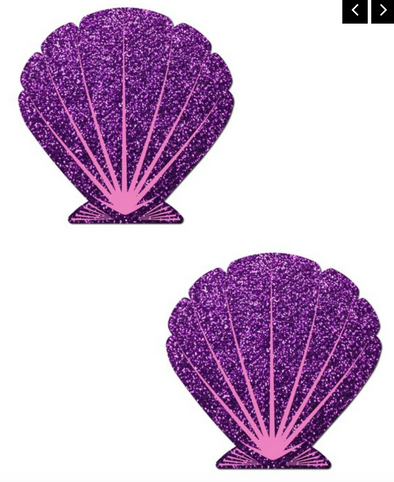 Animated Mermaid Scale Pattern Shell Pasties Purple/Pink