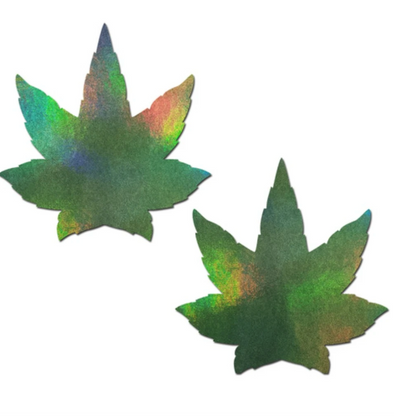 Holographic Indica Weed Marijuana Leaf Nipple Pasties (Available in 3 colors)