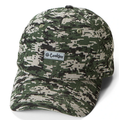 Green Camo Harvest Pixel Camo Dad Hat W/ Rubber logo