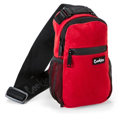 "COOKIES SMELL PROOF ""NOAH"" MICRO SUEDE OVER THE SHOULDER SLING BAG RED"