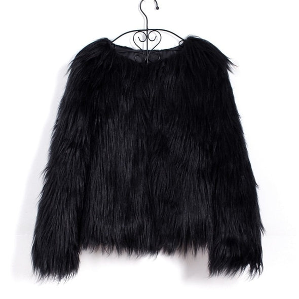 Fashion Furry Faux Fur Coat Women Fluffy Warm Long Sleeve Female Outerwear Autumn Winter Coat Jacket Hairy Collarless Overcoat