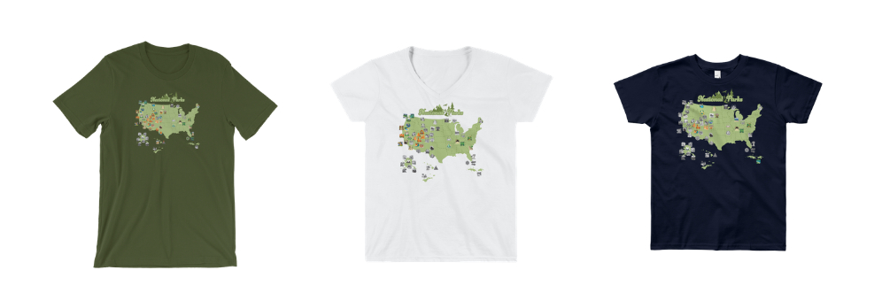 National parks quest personalized travel map t-shirts from No Small Plan