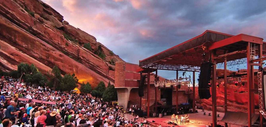 Music-themed travel quest Red Rocks Ampitheater Colorado