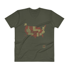 olive-red men's places I've been US word map v-neck t-shirt