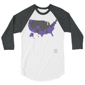 grey-purple US map states I've visited baseball shirt