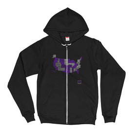 black-violet US word map states I've visited fleece hoodie