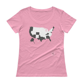 pink-grey women's places I've been US map scoop neck t-shirt
