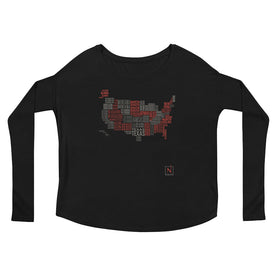 black-red women's places I've been US word map flowy long sleeve t-shirt