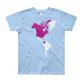 lightblue-magenta kids' places I've been in the world map t-shirt front