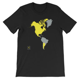 black-yellow men's places I've been world map t-shirt front