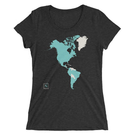 Women's World Map Fitted T-Shirt