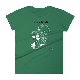green-white women's where I'm from truly irish counties t-shirt
