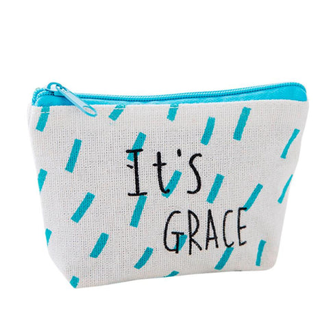 Women's Blue and White Canvas Small Travel Purse Makeup Bag w/ Inspiring Messages