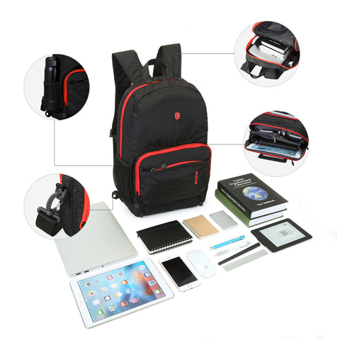 Black and Red Portable Travel Hiking Backpack