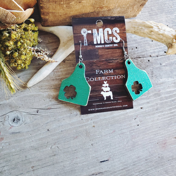 Lucky - Shamrock cattle tag earrings🍀 - Momma's Country Soul
