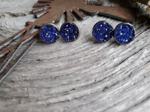 12mm Navy Druzy studs - Momma's Country Soul