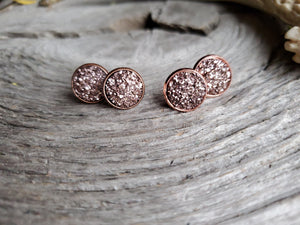 12mm Mocha Druzy studs - Momma's Country Soul