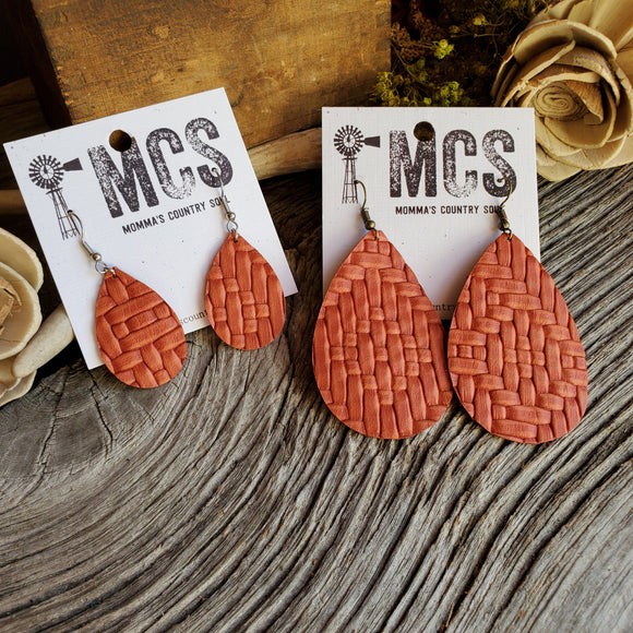 Burnt orange basketweave teardrops - Momma's Country Soul
